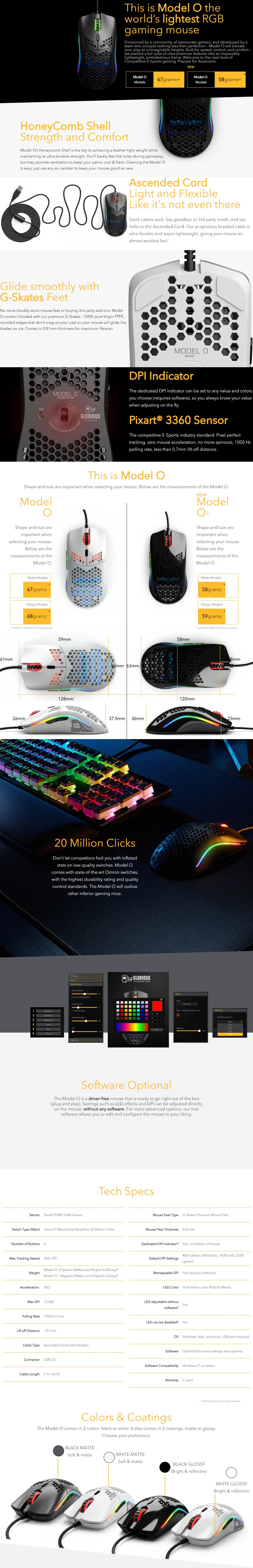 Glorious Model O- Gaming Mouse - Matte Black - Desktop Overview 1