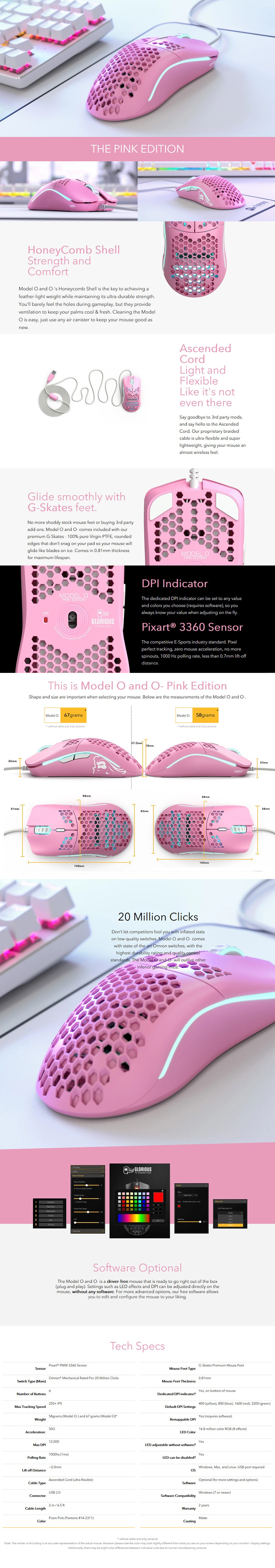 Glorious Model O Gaming Mouse - Pink - Overview 1
