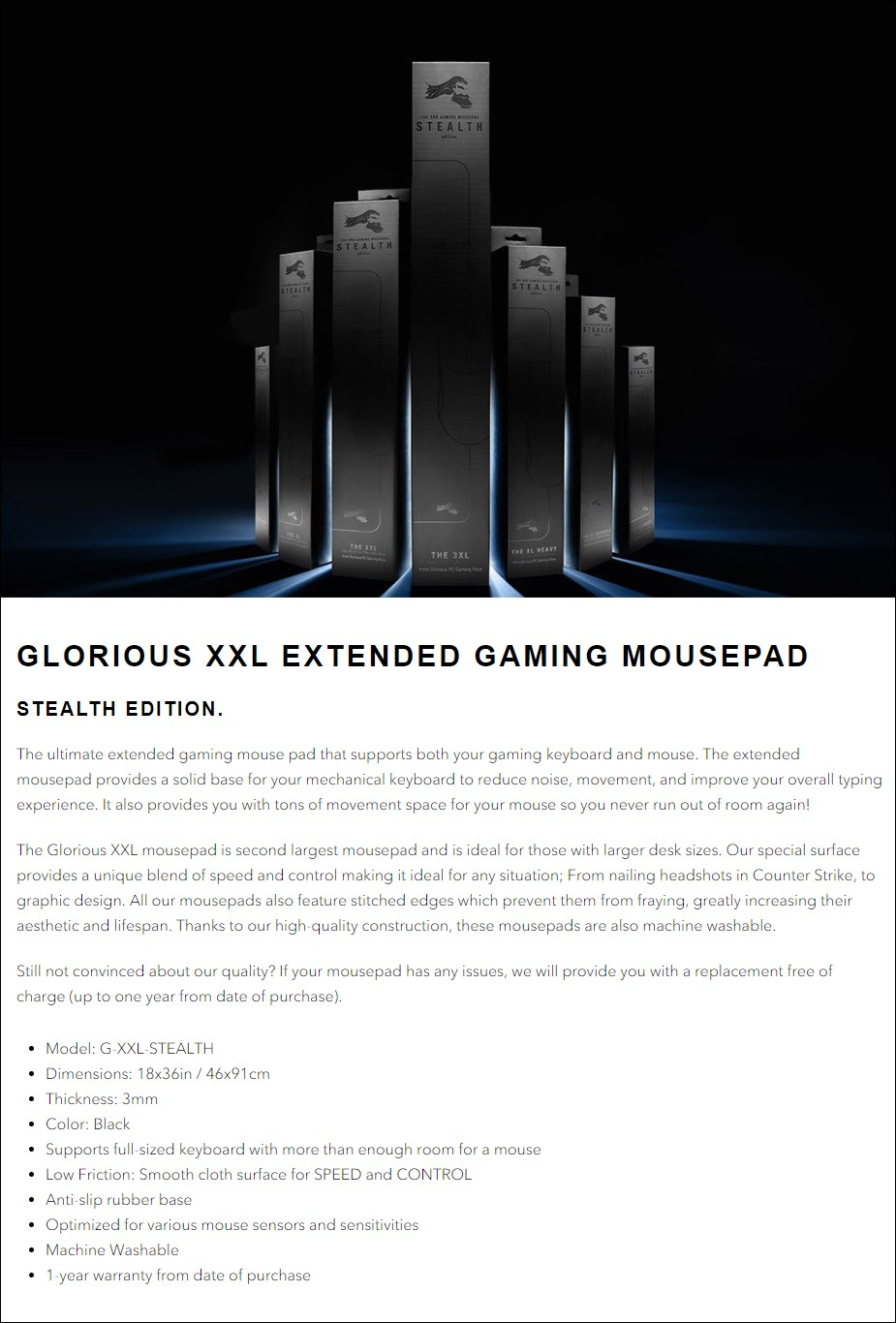 Glorious XXL Extended Gaming Mouse Pad - Stealth - Overview 1