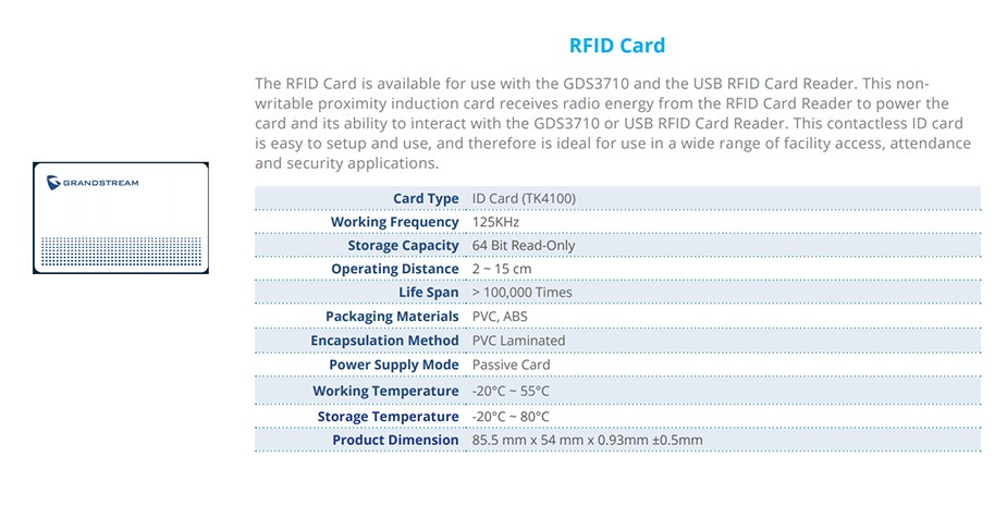 Grandstream GDS37X0-CARD RFID Coded Access Card Accessory for GDS3710 - Overview 1