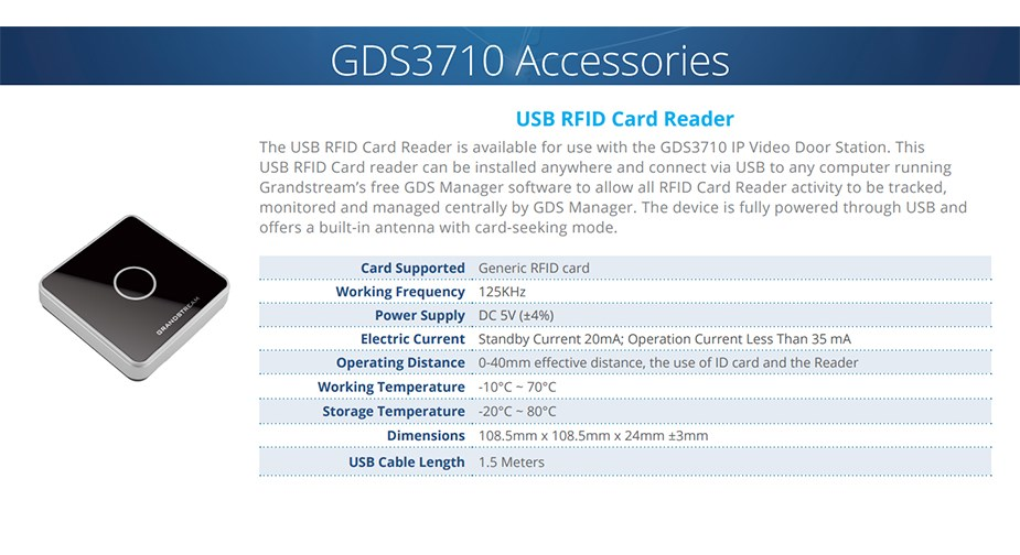 Grandstream GDS37X0-RFID-RD USB RFID Card Reader Accessory For GDS3710 - Overview 1