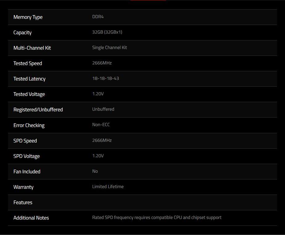 G.Skill Ripjaws V 32GB (1x 32GB) DDR4 2666MHz CL18 Memory - Black - Overview 2