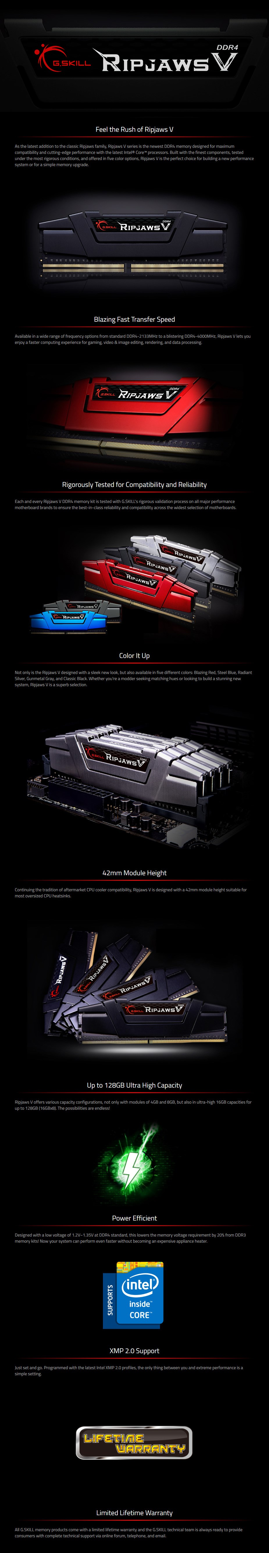 G.Skill Ripjaws V 32GB (4x 8GB) DDR4 4000MHz Memory - Overview 1