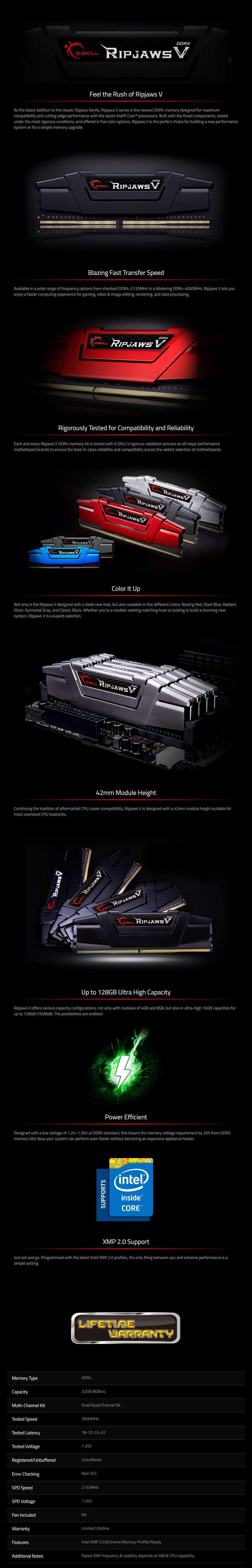 G.Skill Ripjaws V 32GB (4x 8GB) DDR4 3600MHz Memory - Black - Overview 1
