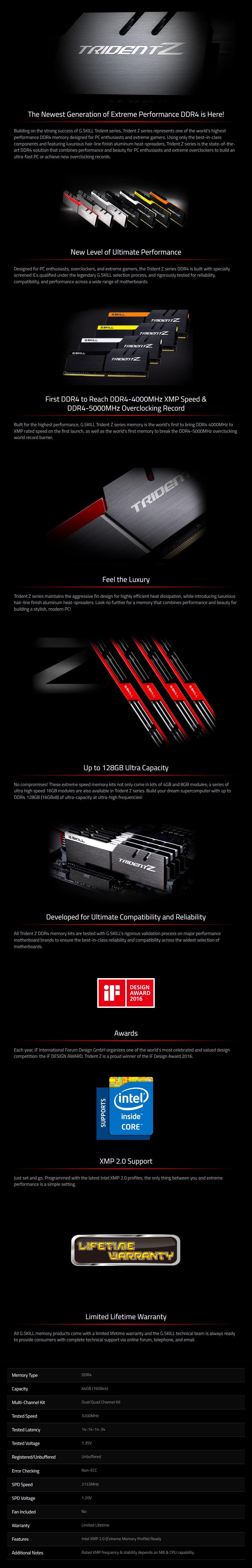 G.Skill Trident Z 64GB (4x 16GB) DDR4 3200MHz Memory - Overview 1