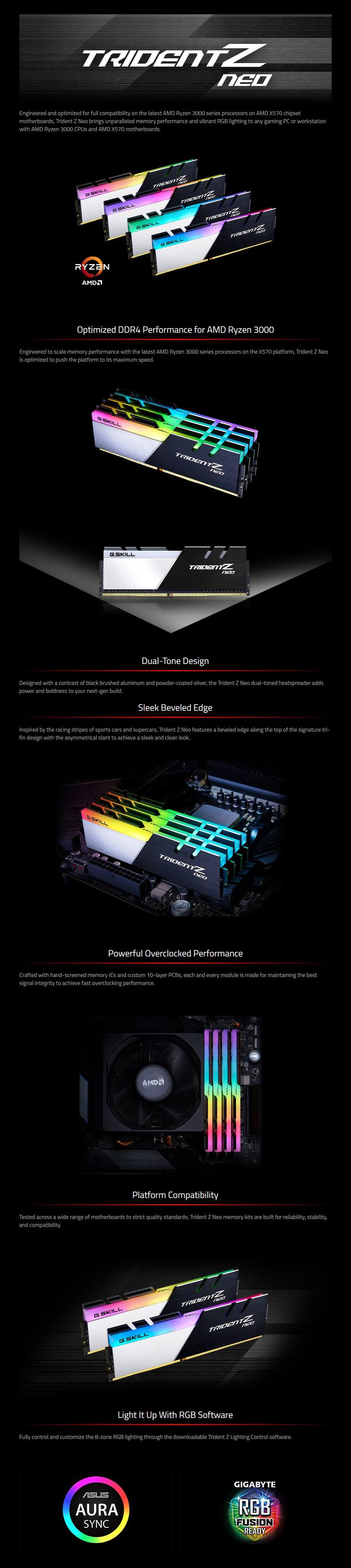 G.Skill Trident Z Neo RGB 32GB (2x 16GB) DDR4 3600MHz Memory - 16-16-16-36 - Overview 1