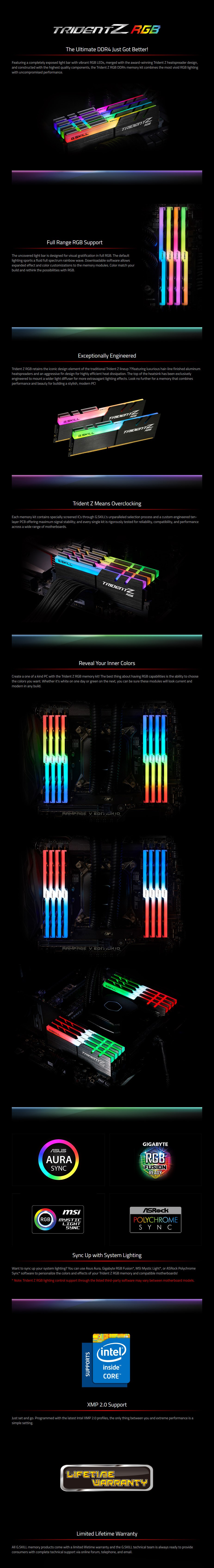 G.Skill Trident Z RGB 32GB (4x 8GB) DDR4 4000MHz Memory - Overview 1