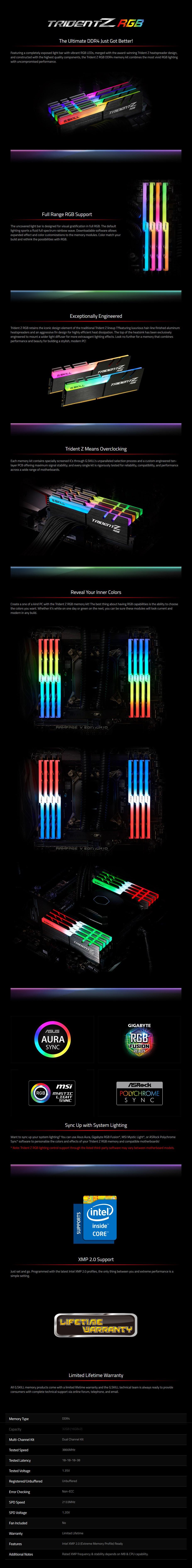 G.Skill Trident Z RGB 32GB (2x 16GB) DDR4 3866MHz Memory - Overview 1