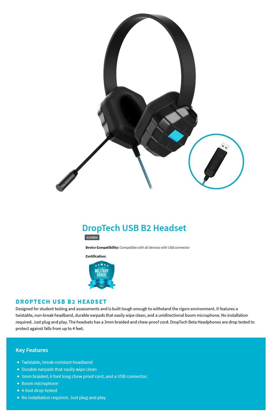 Gumdrop DropTech USB B2 Rugged Headset - Overview 1
