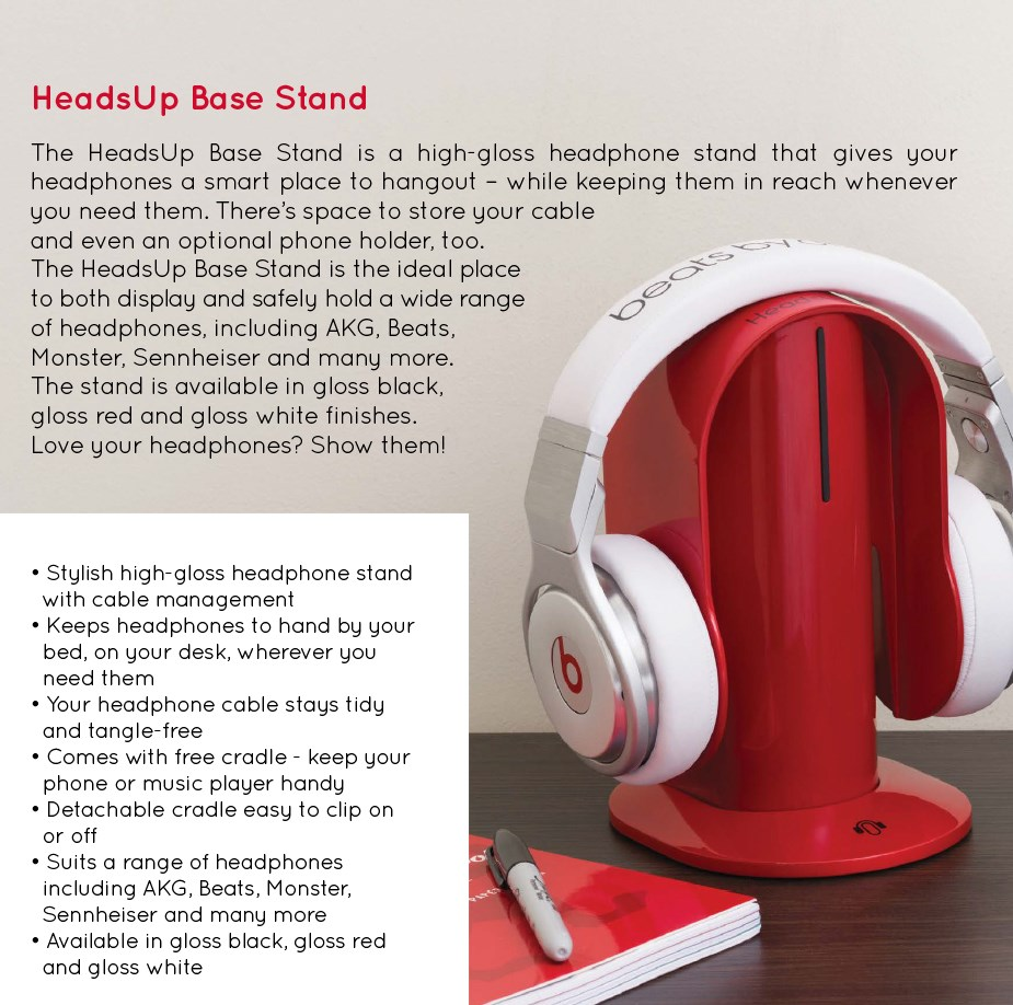 HeadsUp Base Headphone Stand - White - Overview 1