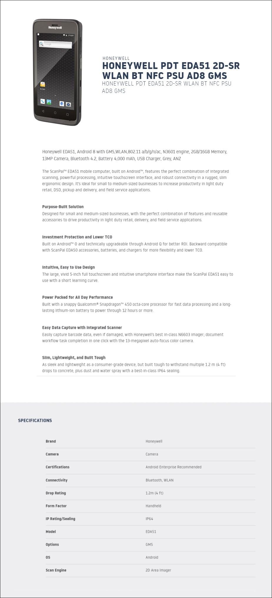 Honeywell EDA51 2GB Ram 16GB Storage WLAN Android 8 PDA - Overview 1