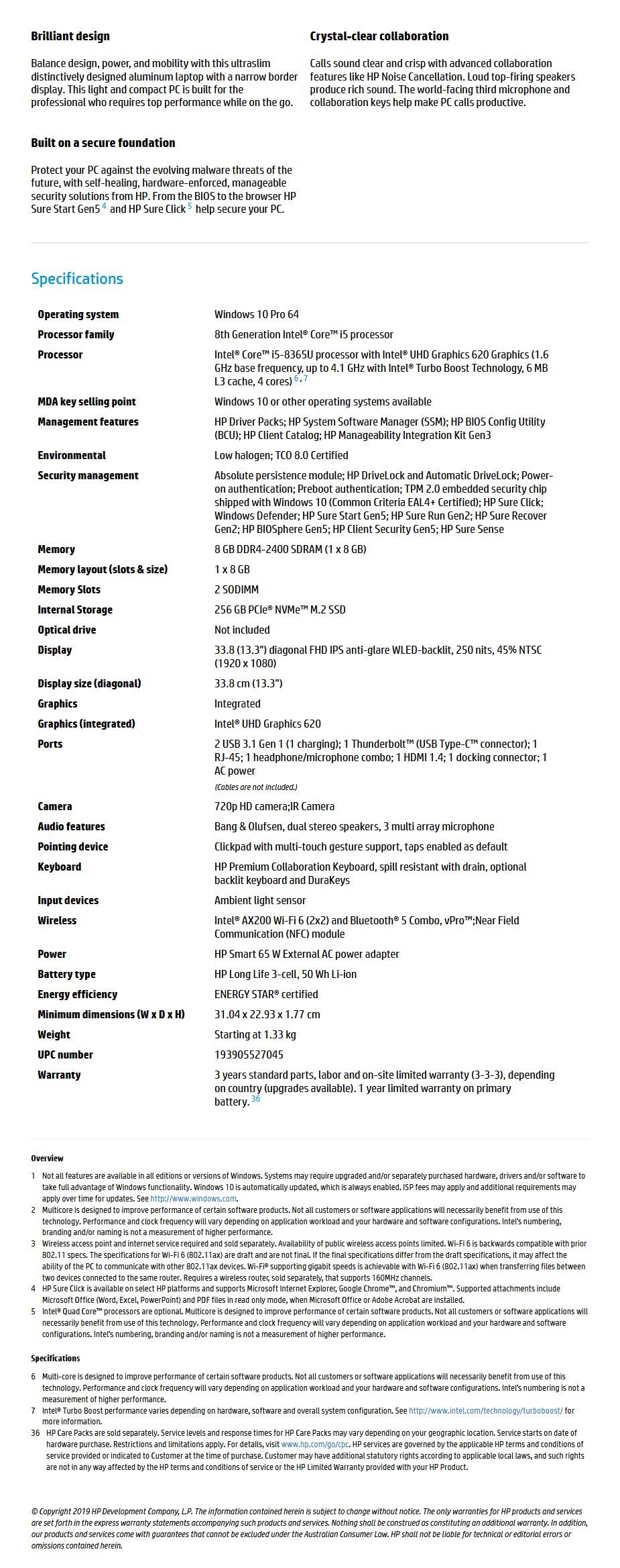 "HP EliteBook 830 G6 13.3"" Laptop i5-8365U 8GB 256GB W10P LTE 4G - Overview 1"