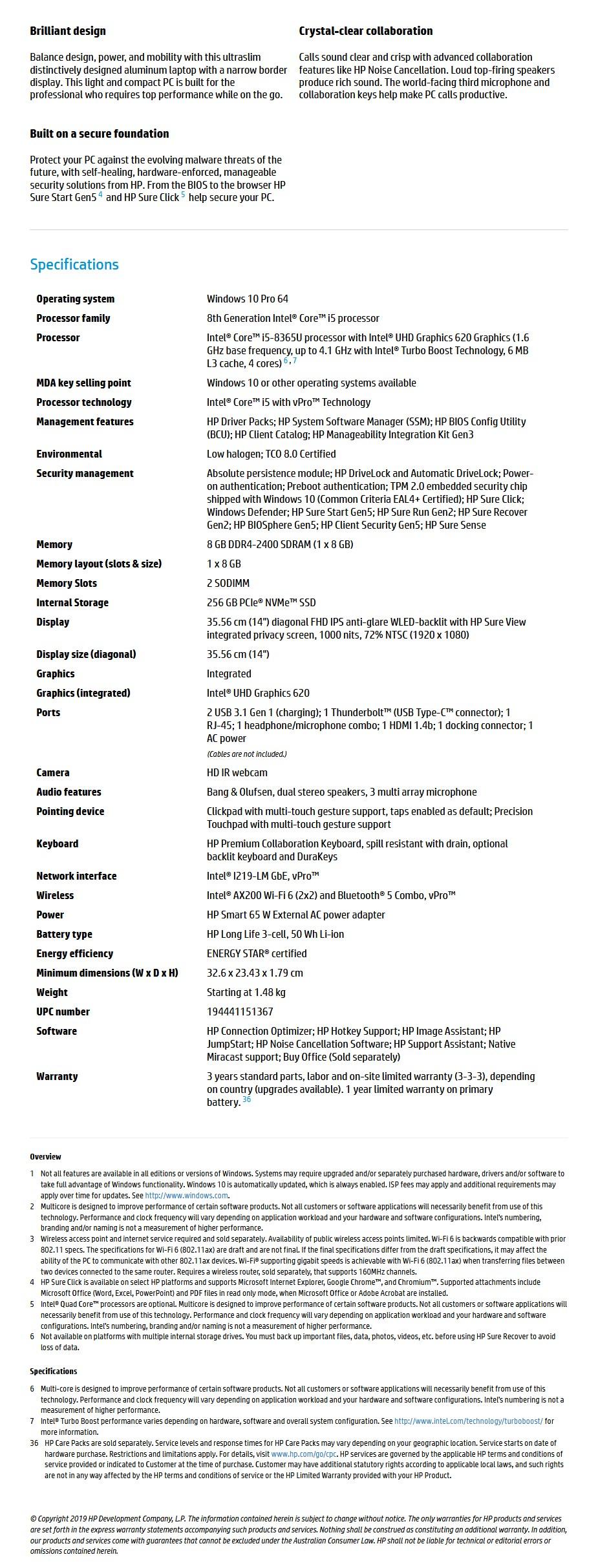 "HP EliteBook 840 G6 14"" Laptop i5-8365U 8GB 256GB W10P - Overview 1"