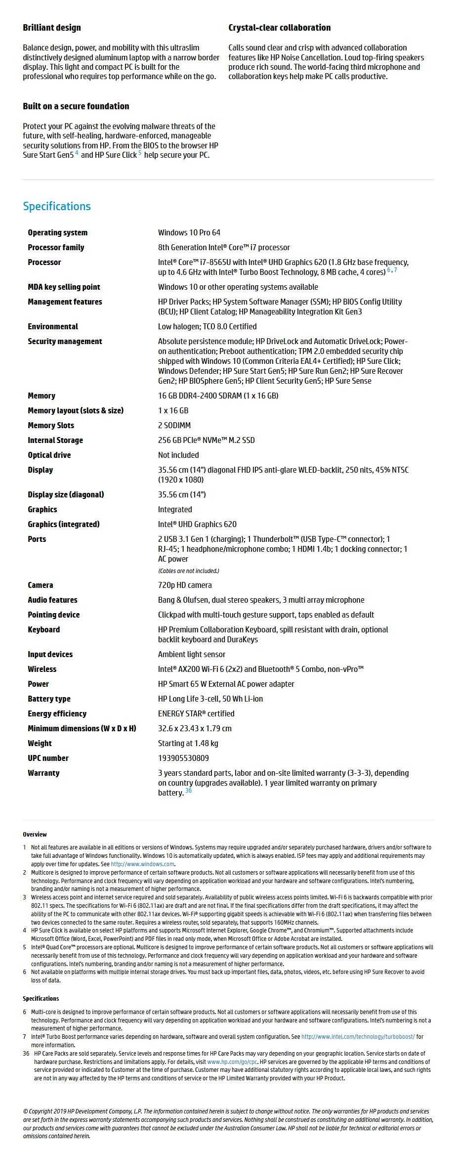 "HP EliteBook 840 G6 14"" Laptop i7-8564U 16GB 256GB W10P - Overview 1"