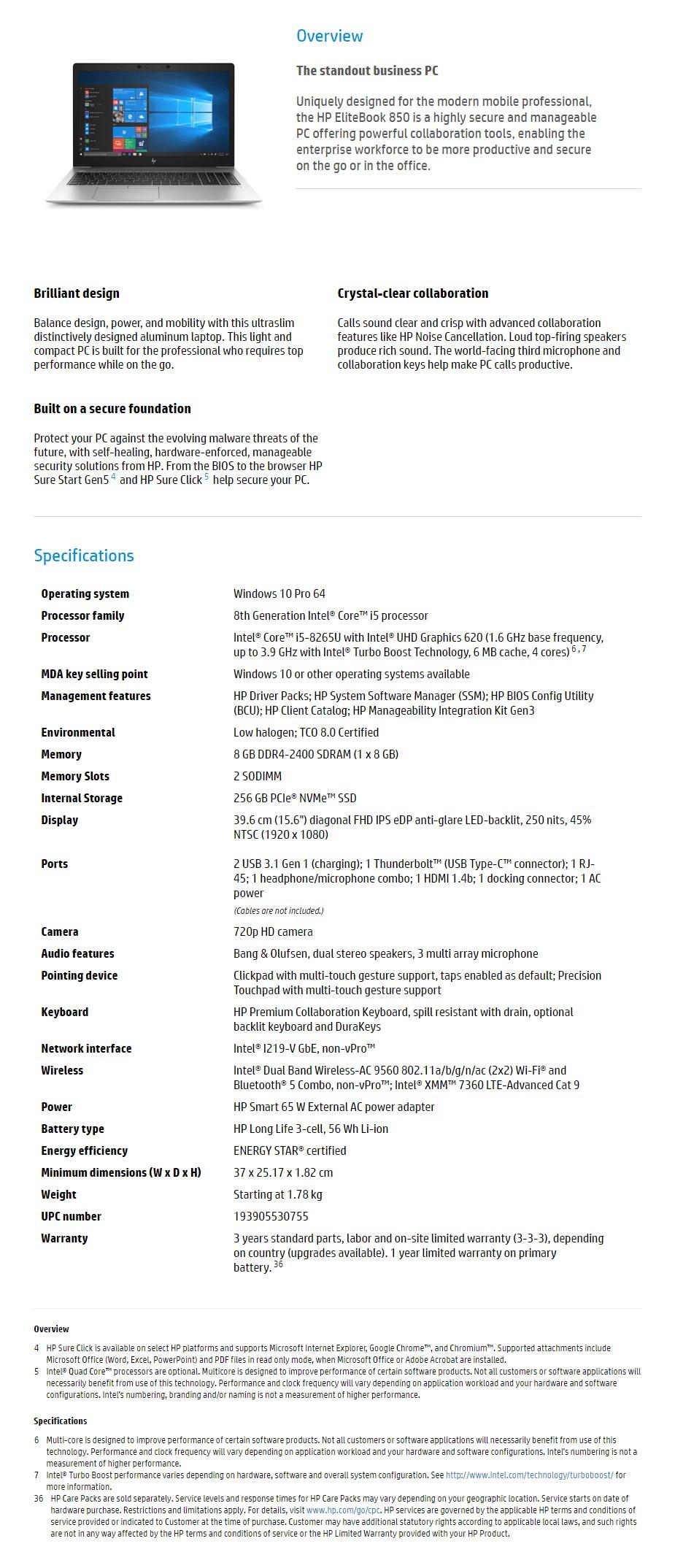 "HP EliteBook 850 G6 15.6"" Laptop i5-8265U 8GB 256GB W10P 4G - Overview 1"