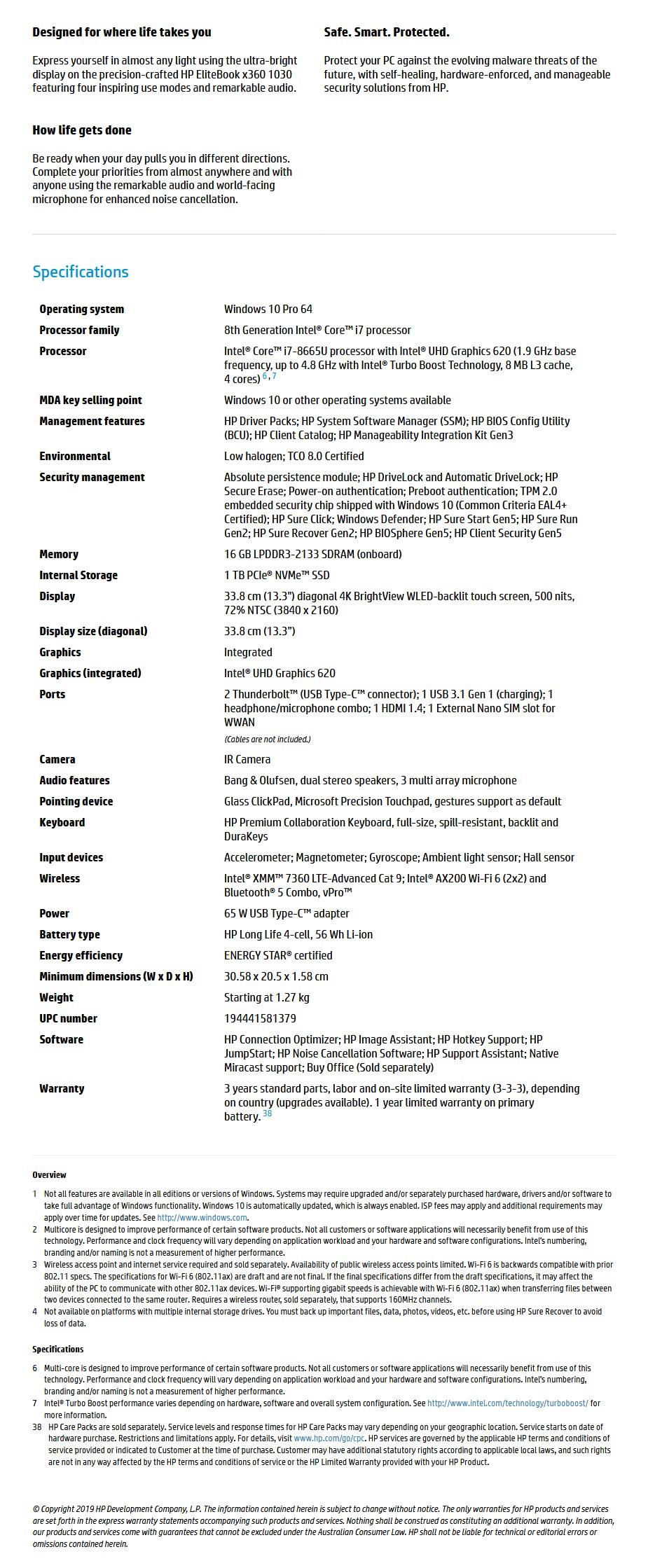 "HP EliteBook x360 1030 G4 13.3"" 4K Laptop i7-8665U 16GB 1TB W10P Touch - Overview 1"