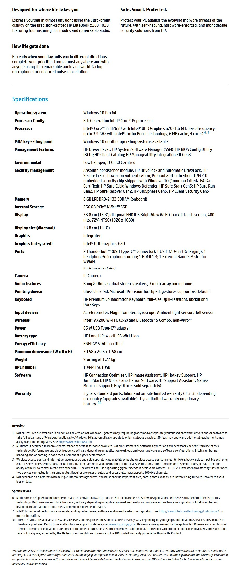 "HP EliteBook x360 1030 G4 13.3"" Laptop i5-8265U 8GB 256GB W10P - Touch - Overview 1"