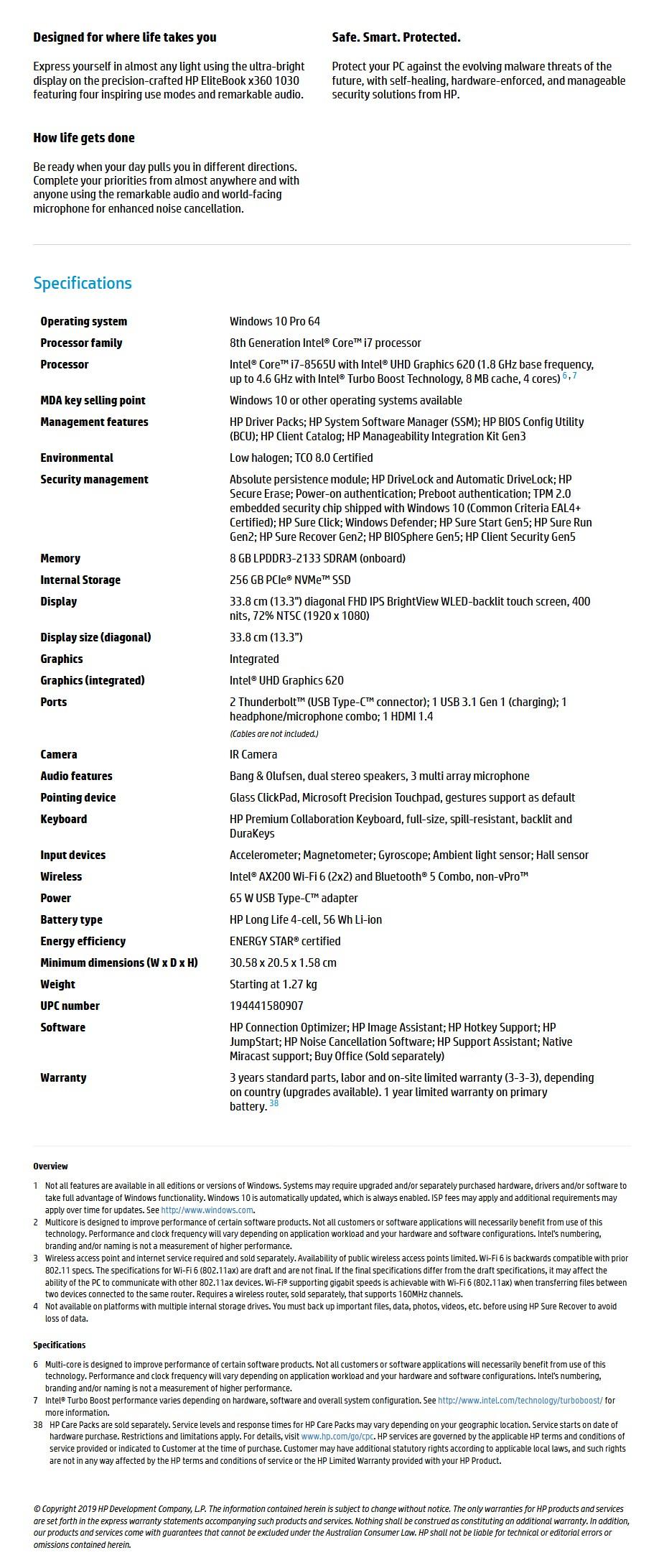 "HP EliteBook x360 1030 G4 13.3"" Laptop i7-8565U 8GB 256GB W10P - Touch - Overview 1"