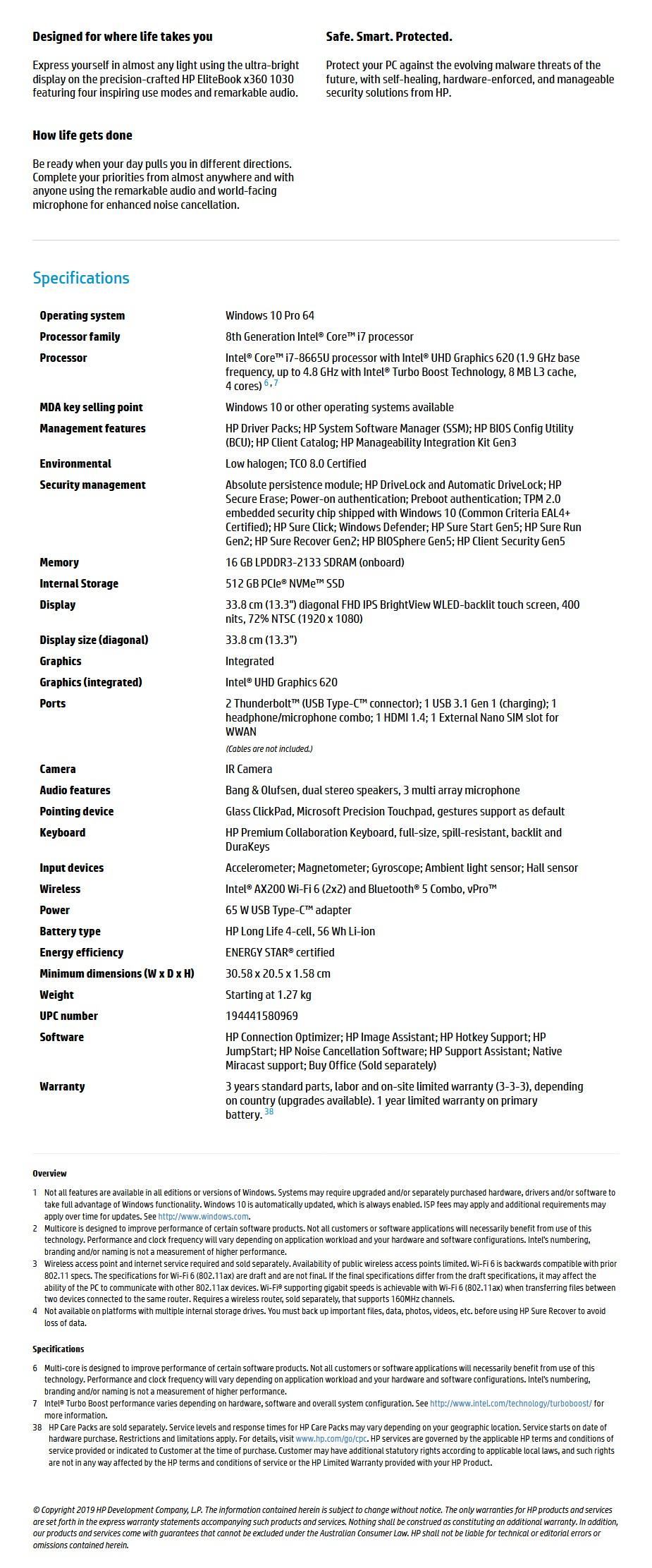 "HP EliteBook x360 1030 G4 13.3"" Laptop i7-8665U 16GB 512GB W10P Touch - Overview 1"