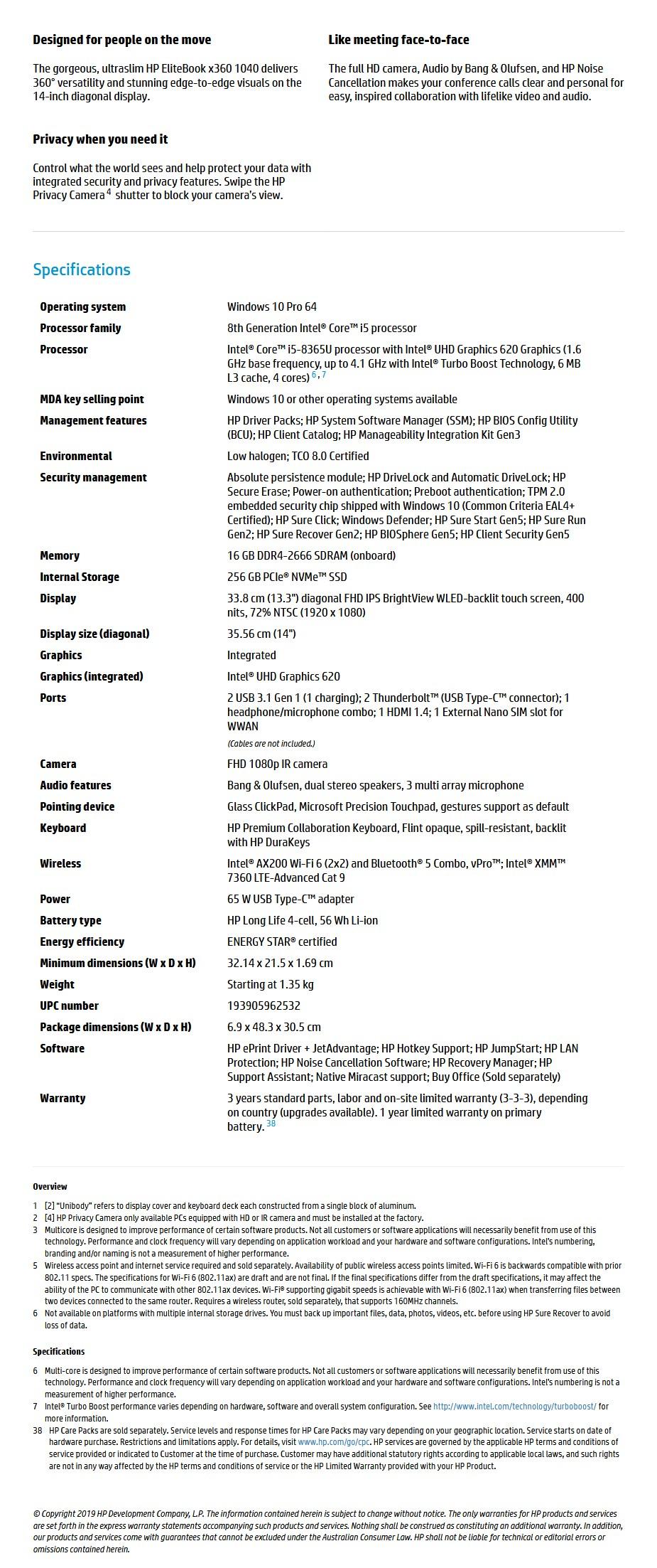 "HP EliteBook x360 1040 G6 14"" Laptop i5-8365U 16GB 256GB W10P Touch 4G - Overview 1"