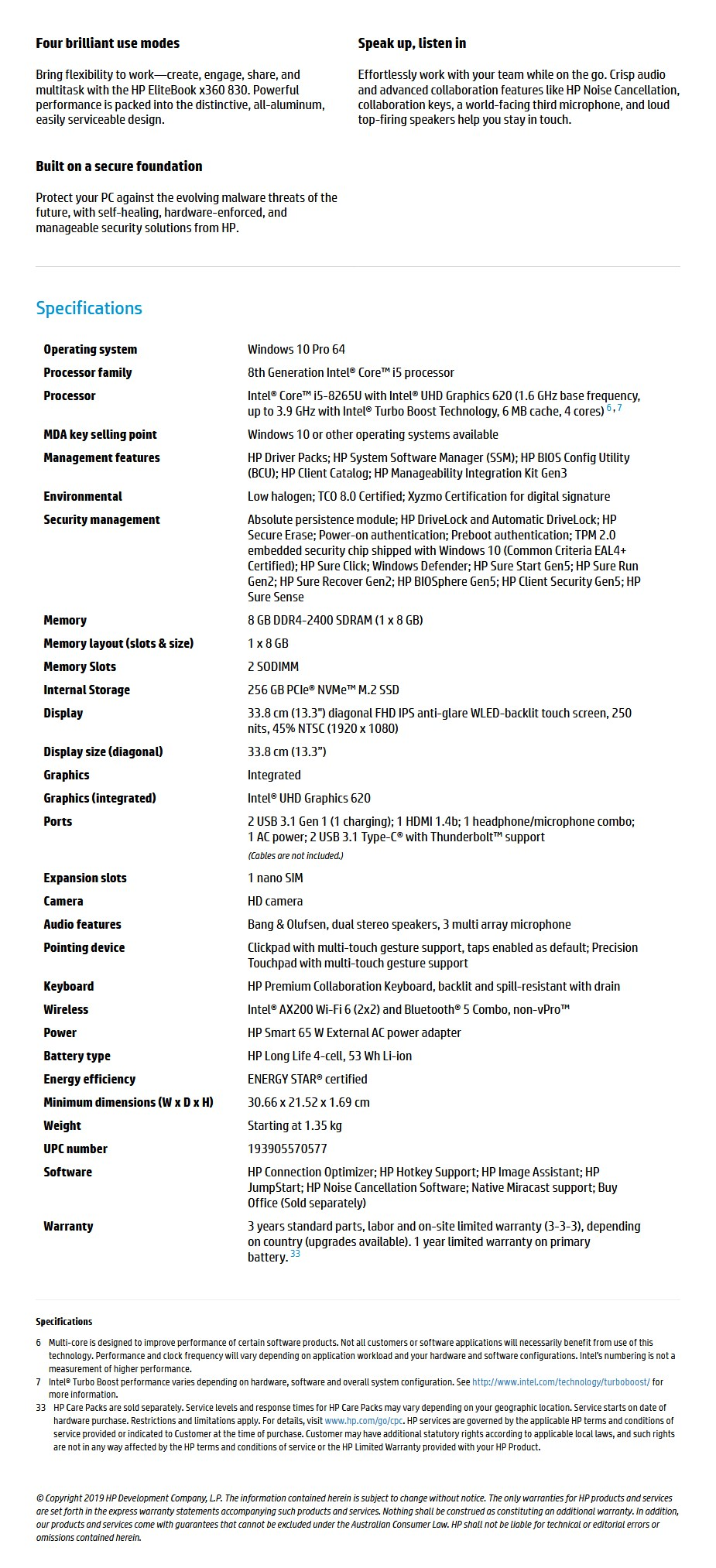 "HP EliteBook x360 830 G6 13.3"" Laptop i5-8265U 8GB 256GB W10P Touch - Overview 1"