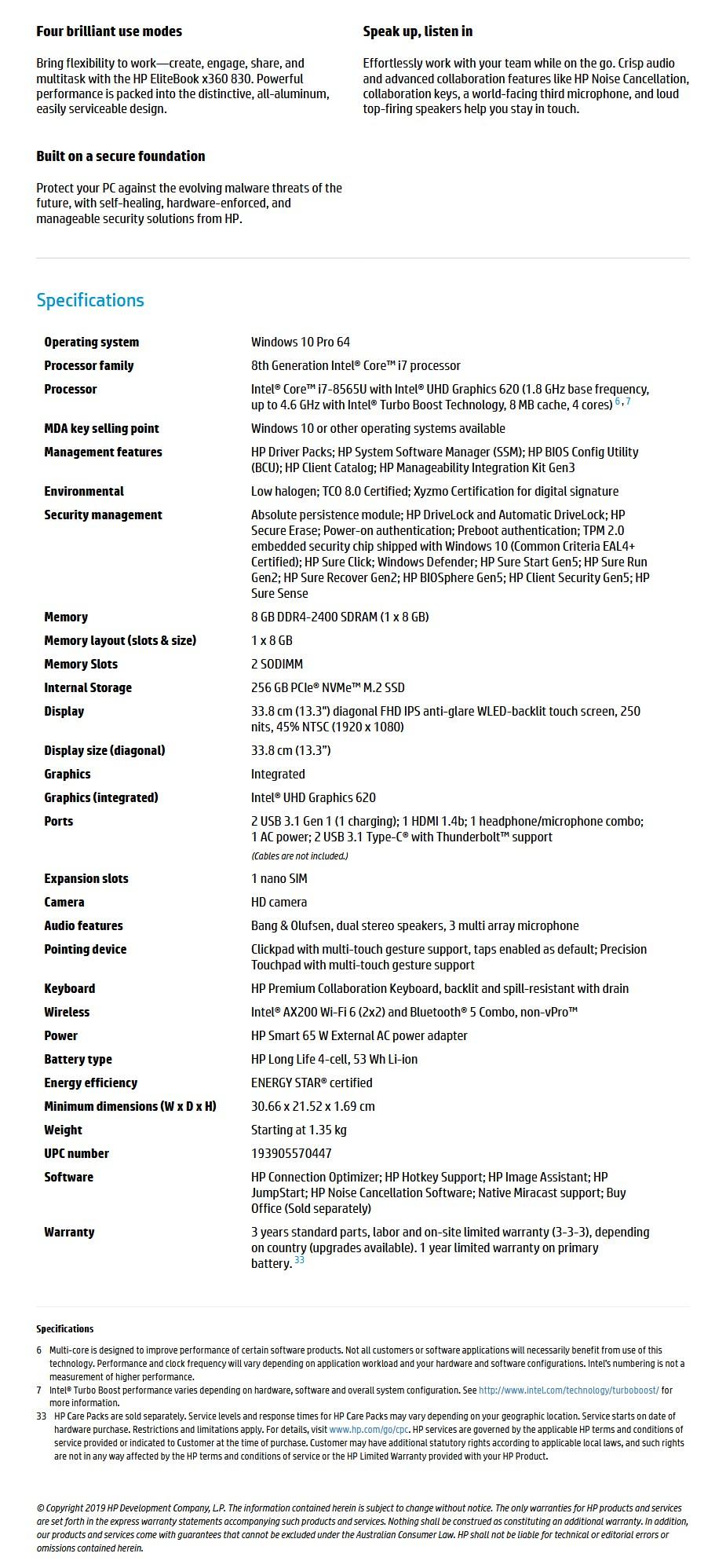 "HP EliteBook x360 830 G6 13.3"" Laptop i7-8565U 8GB 256GB W10P Touch - Overview 1"