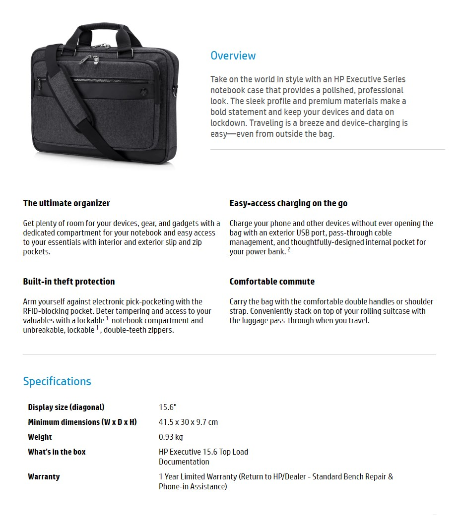 "HP Executive Top Load Bag for 15.6"" Laptops - Overview 1"