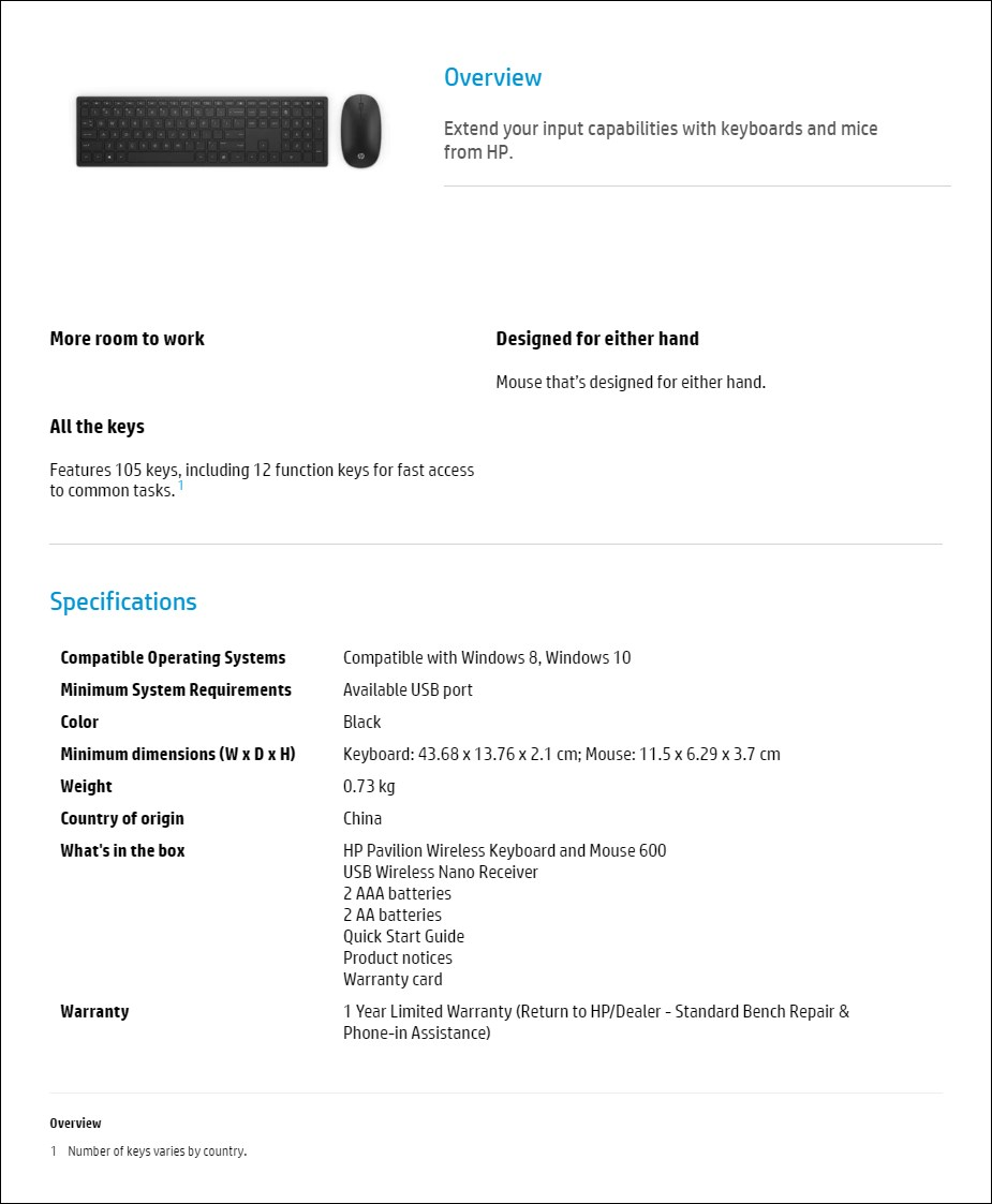 HP Pavilion Wireless Keyboard & Mouse 600 - Overview 1