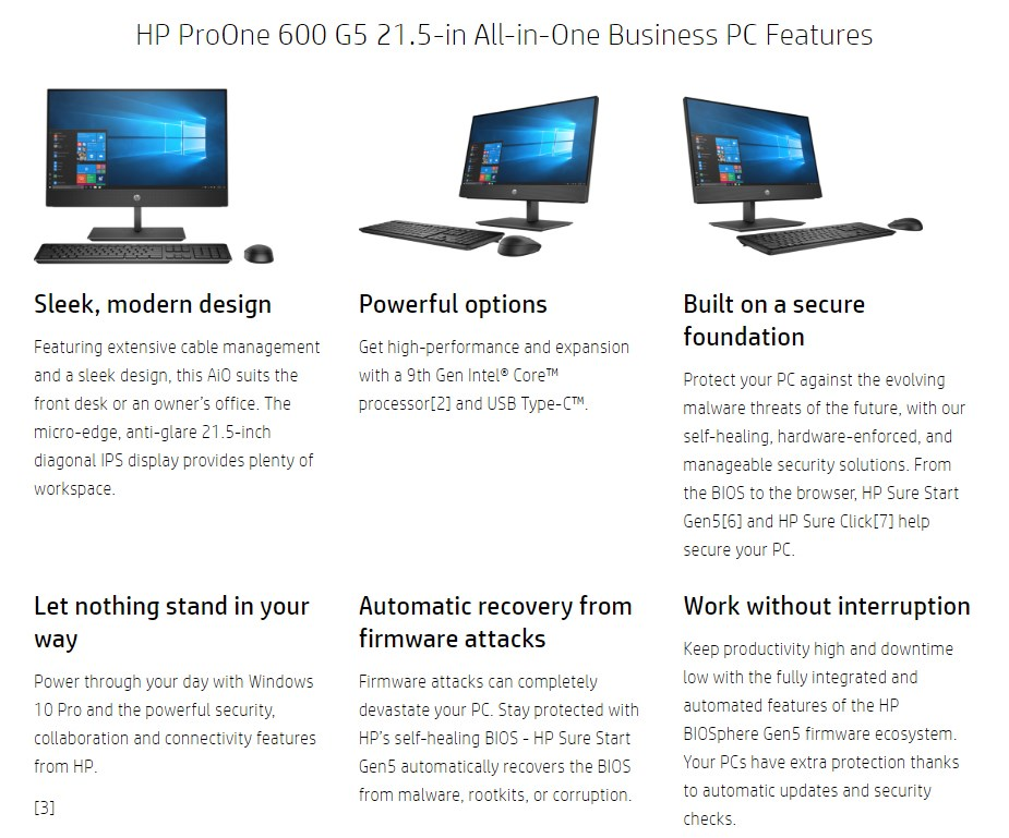 "HP ProOne 600 G5 21.5"" All-in-One Desktop PC i5-9500T 8GB 1TB Win10 Pro - Overview 1"