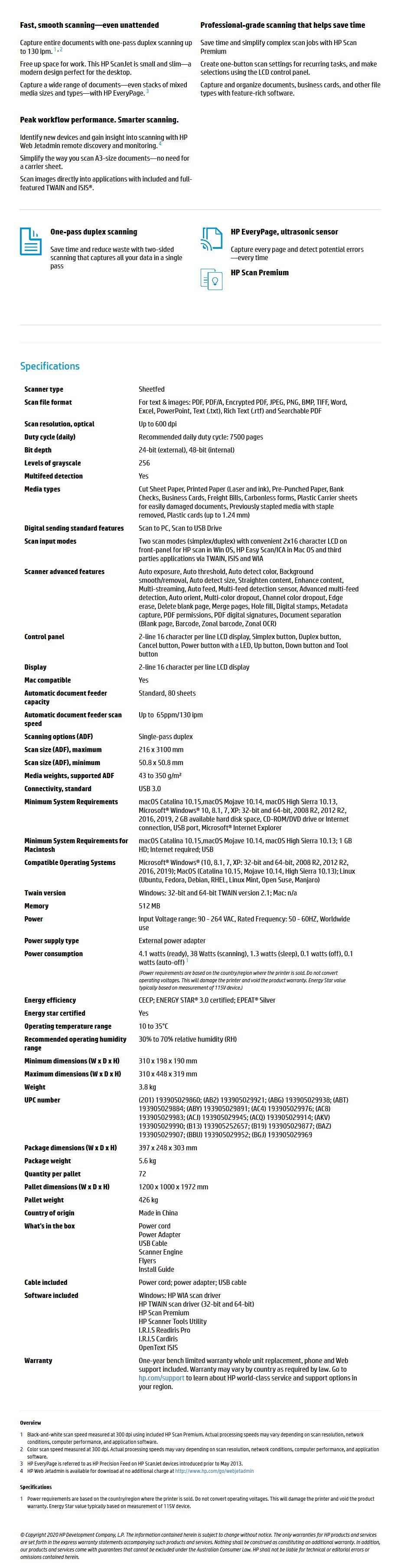 HP ScanJet Enterprise Flow 5000 s5 Sheet Feed Document Scanner - Overview 1