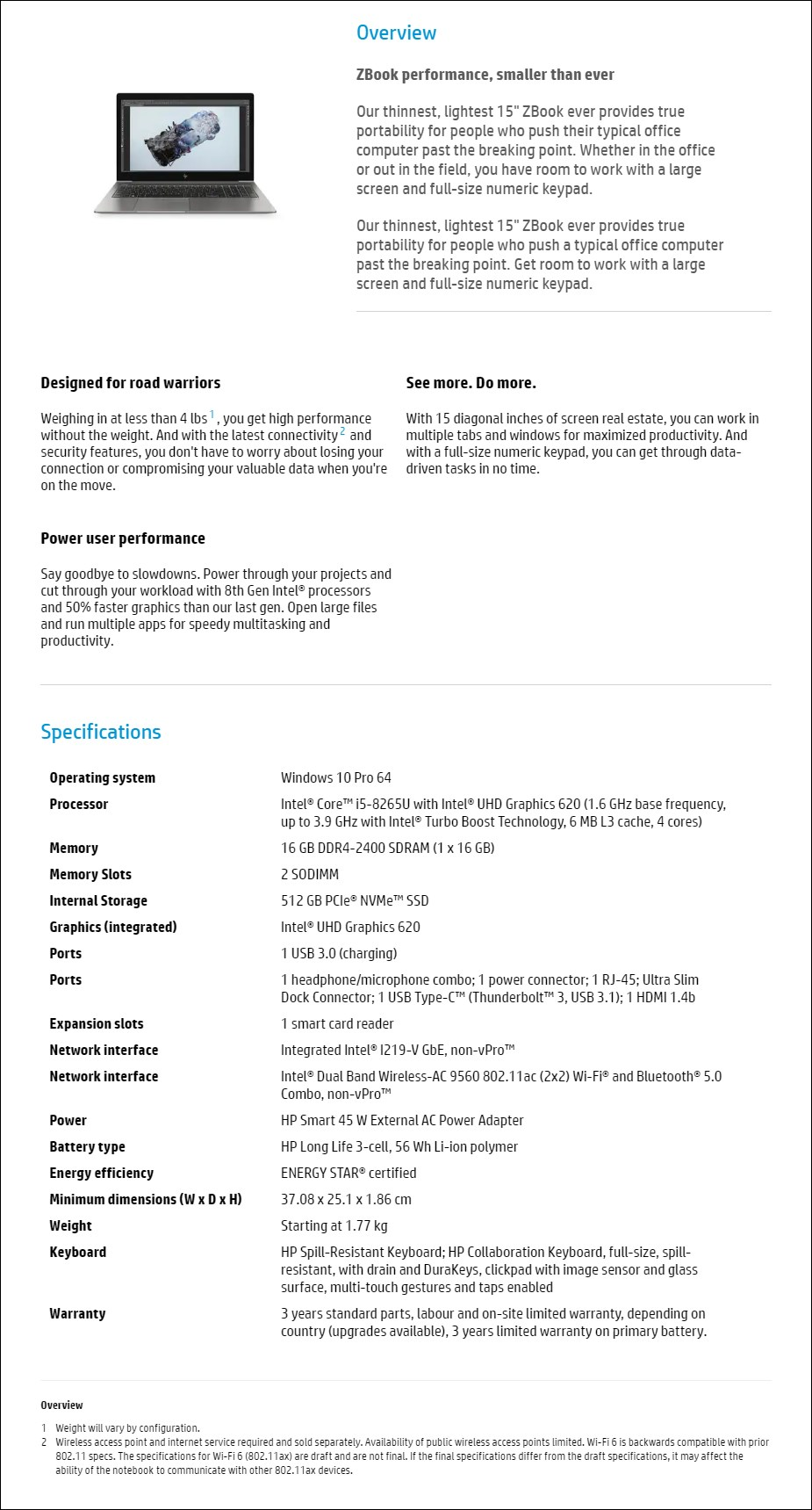 "HP ZBook 15u G6 15.6"" Mobile Workstation i5-8265U 16GB 512GB W10P - Overview 1"