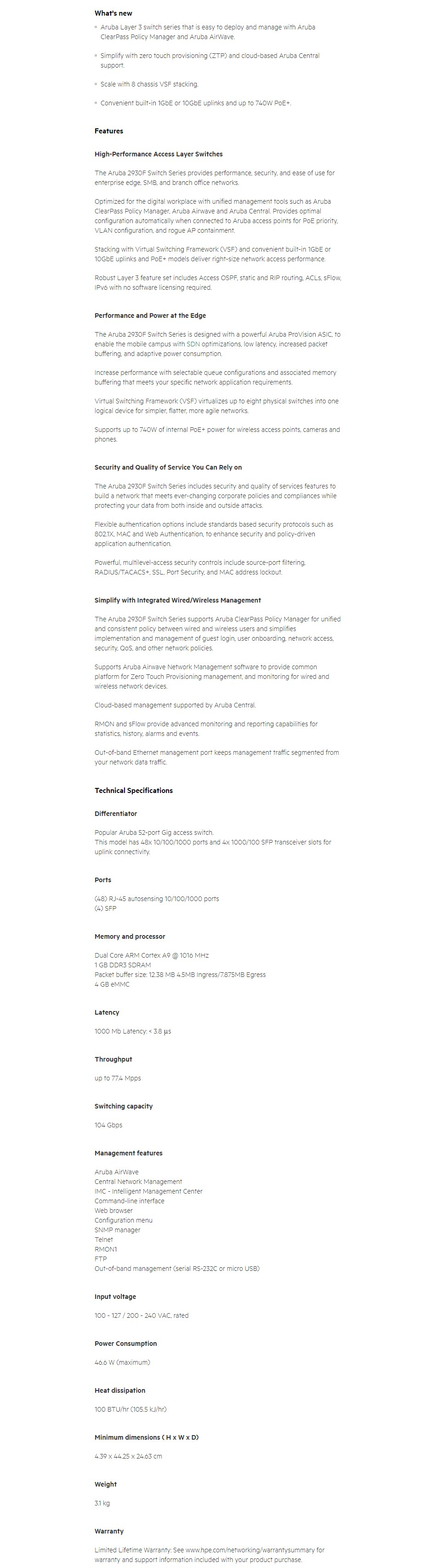 HPE Aruba 2930F 48-Port GbE 4-Port SFP Switch - Overview 1