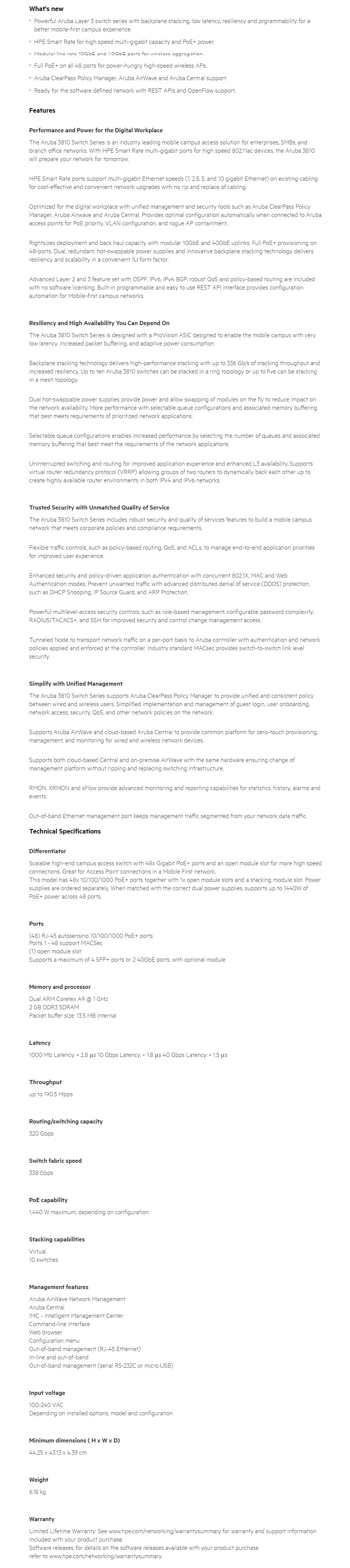 HPE Aruba 3810M 48-Port GbE MACSec PoE+ 1440W Switch - No PSU - Overview 1