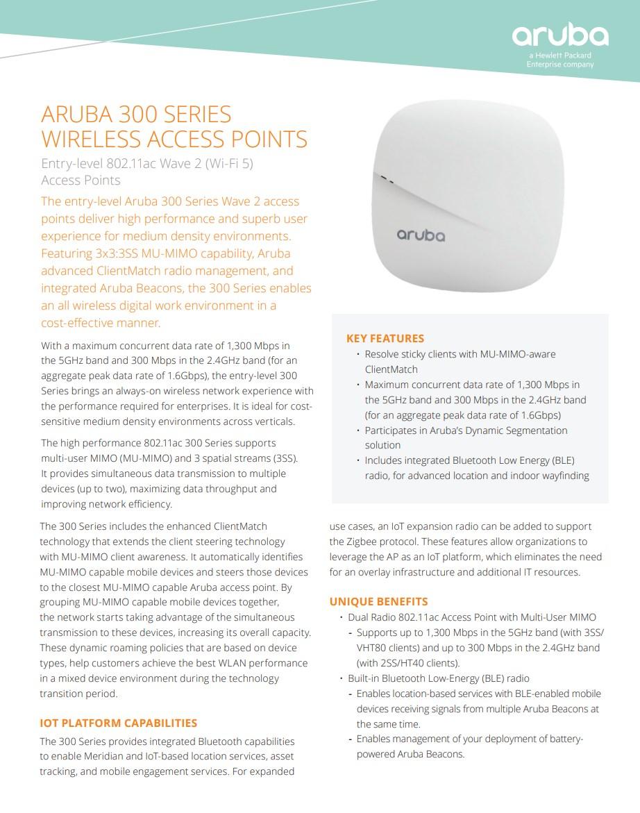 HPE Aruba AP-304 802.11ac Wave 2 MU-MIMO WiFi 5 Access Point - Overview 1