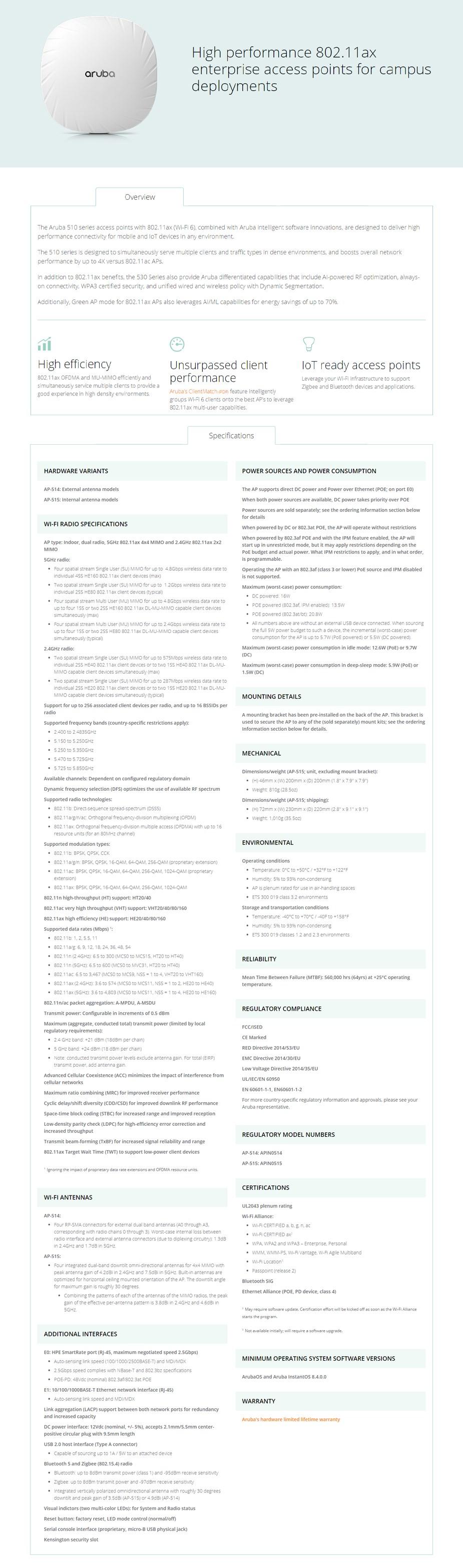 HPE Aruba AP-514 802.11ax Dual-Radio 4x4 MU-MIMO Indoor Access Point - Overview 1