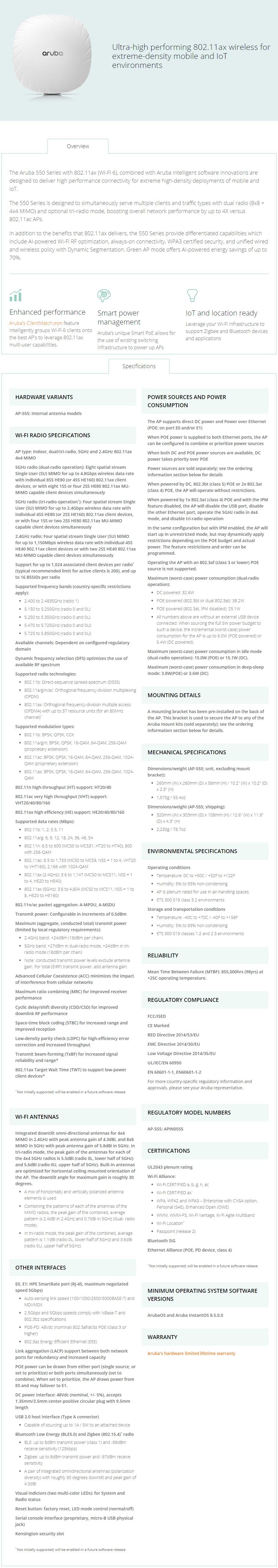 HPE Aruba AP-555 802.11ax Tri-Radio 8x8 MU-MIMO Indoor Access Point - Overview 1
