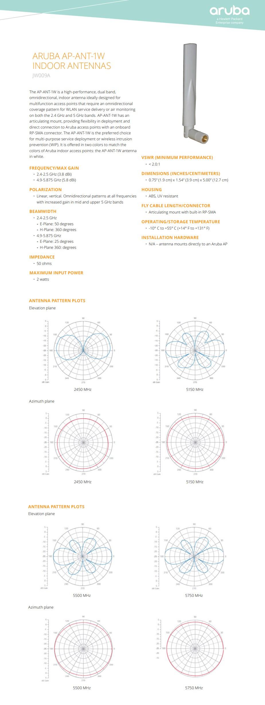 HPE Aruba ARUBA AP-ANT-1W Dual-Band Hi Gain Indoor Antenna - Overview 1