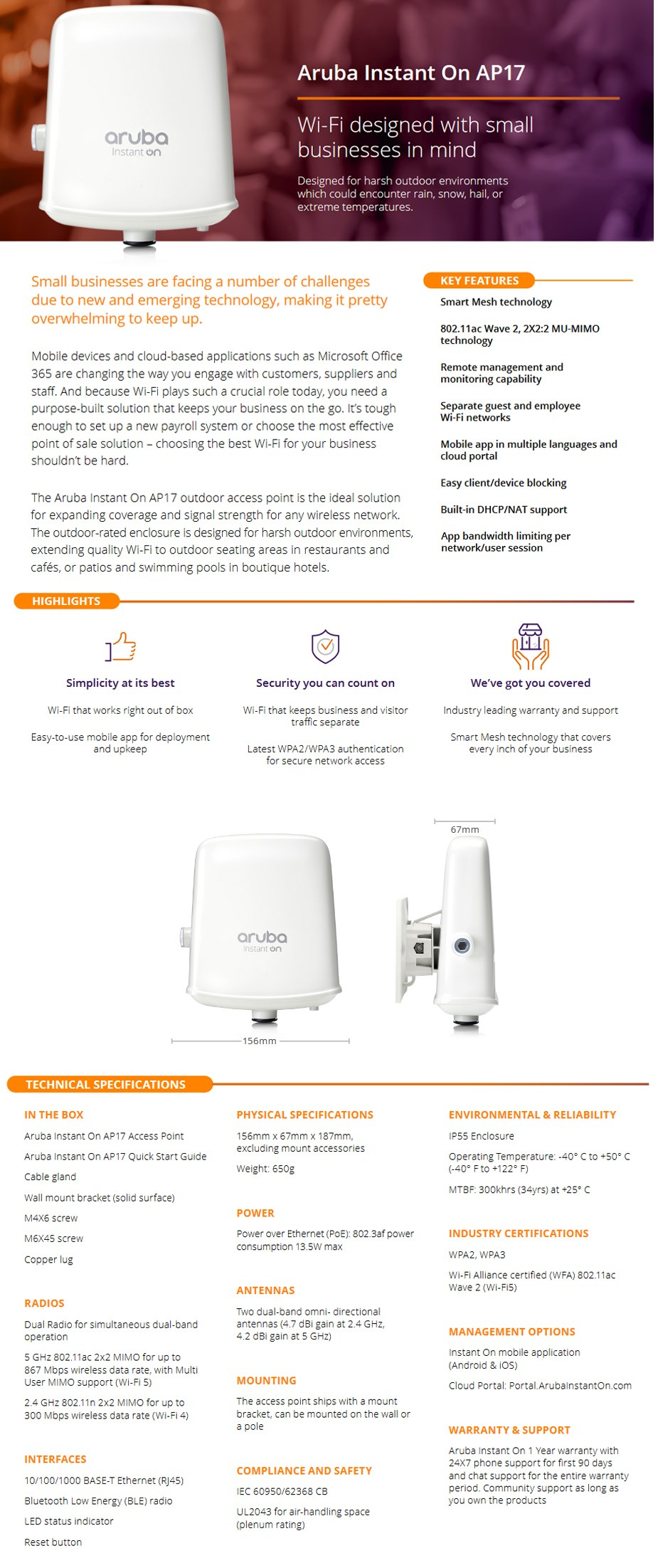 HPE Aruba Instant On AP17 802.11ac 2x2 MIMO Wave 2 Outdoor Access Point	 - Overview 1