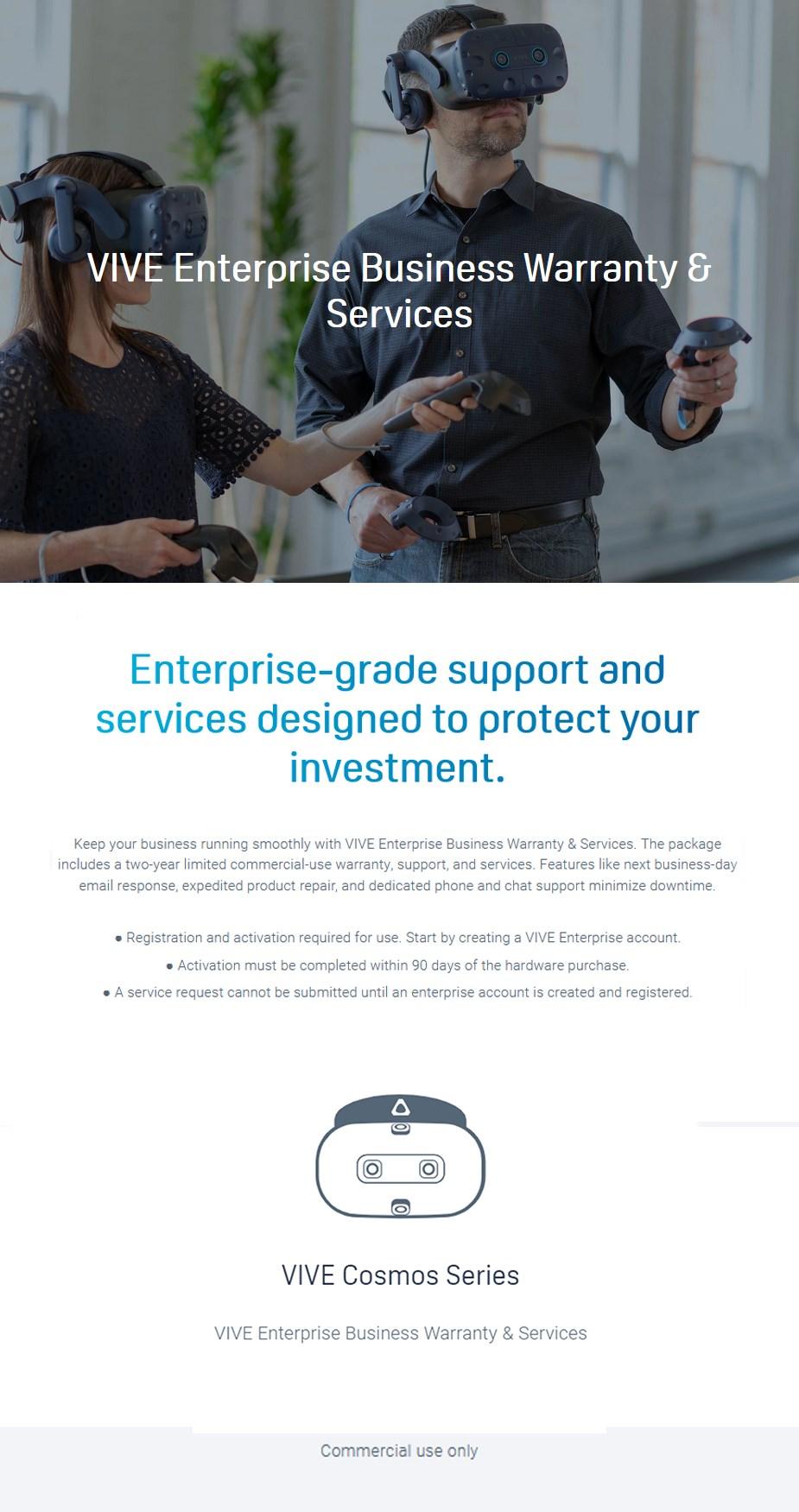 HTC Advantage Enterprise Care Package for VIVE Cosmos Series - Commercial Use - Desktop Overview 1
