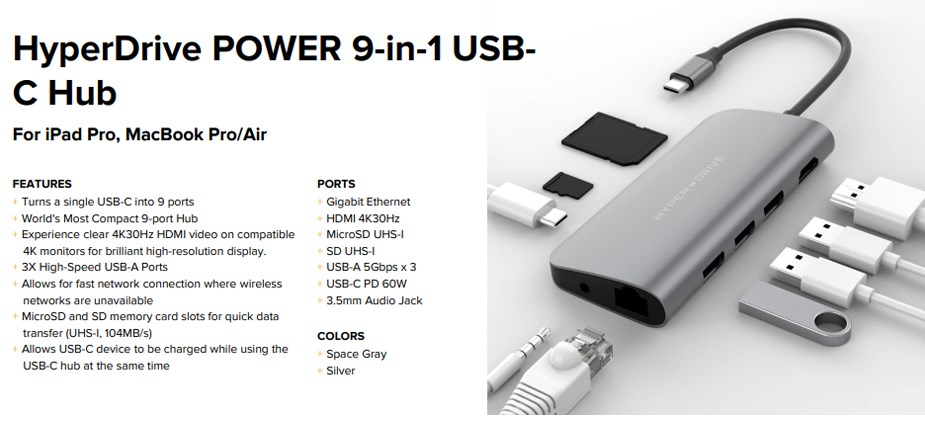 HyperDrive POWER 9-in-1 Universal USB-C Hub - Space Gray - Overview 1