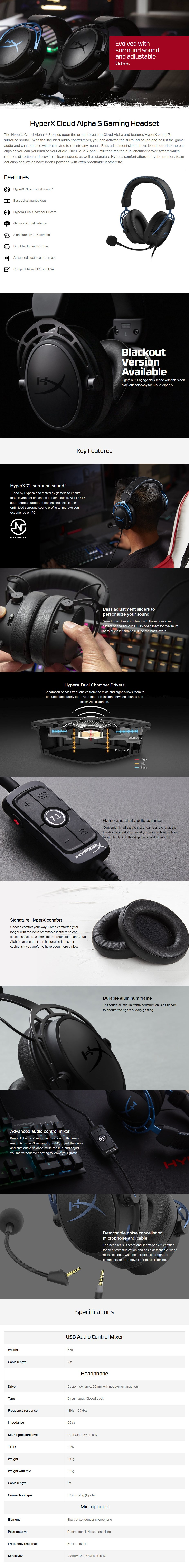 HyperX Cloud Alpha S Gaming Headset - Blackout - Overview 1
