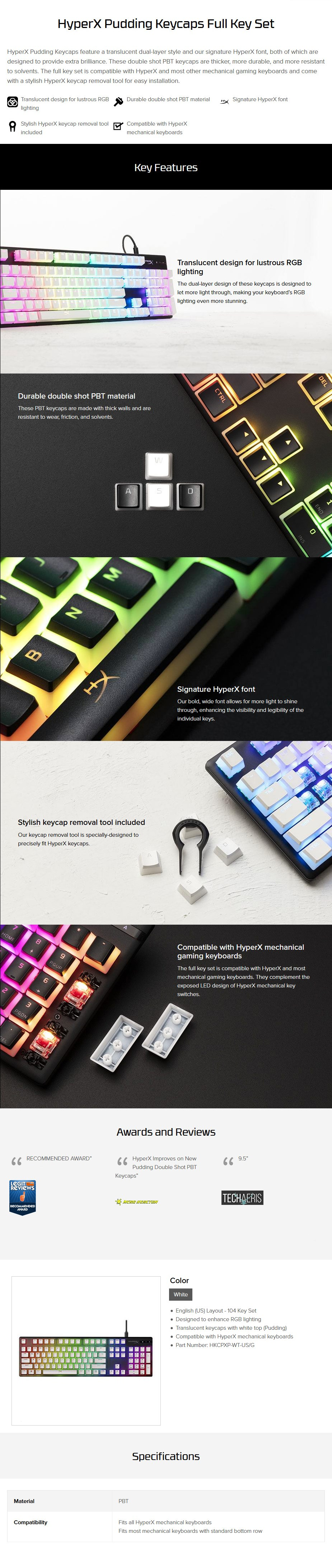 HyperX Double Shot PBT 104-Key Translucent Pudding Keycap Set - White - Overview 1