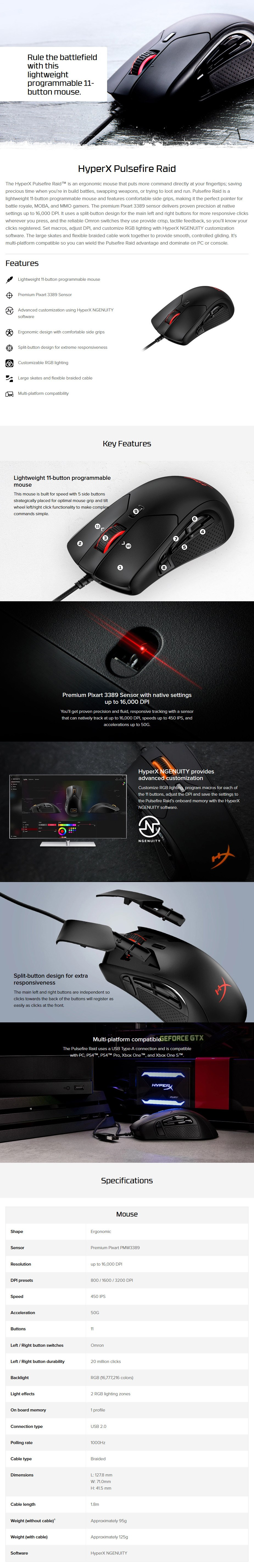 HyperX Pulsefire Raid Optical Gaming Mouse - Overview 1