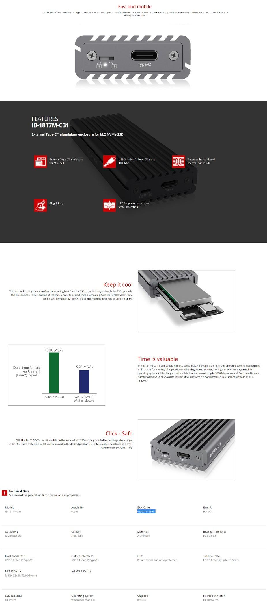 ICY BOX IB-1817M-C31 External Aluminium USB Type-C M.2 NVMe SSD Enclosure - Overview 1