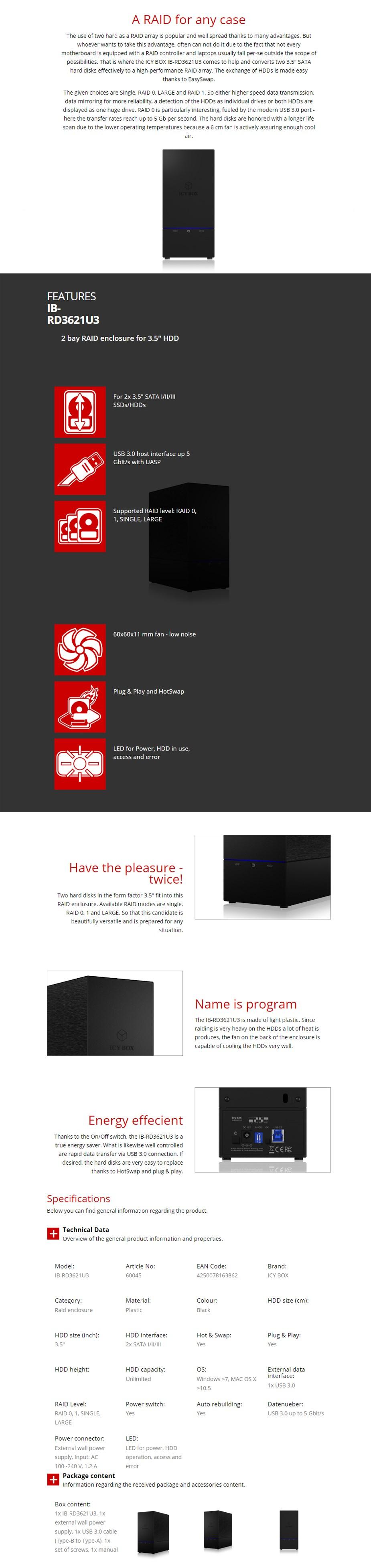 "ICY BOX IB-RD3621U3 2 Bay Diskless External RAID Enclosure for 3.5"" - Overview 1"