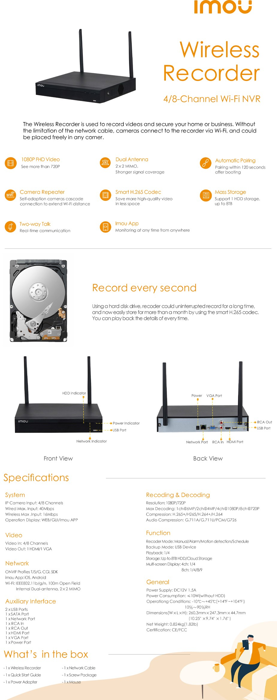 Imou NVR1108HS-W-S2 1080P Wireless NVR - Overview 1