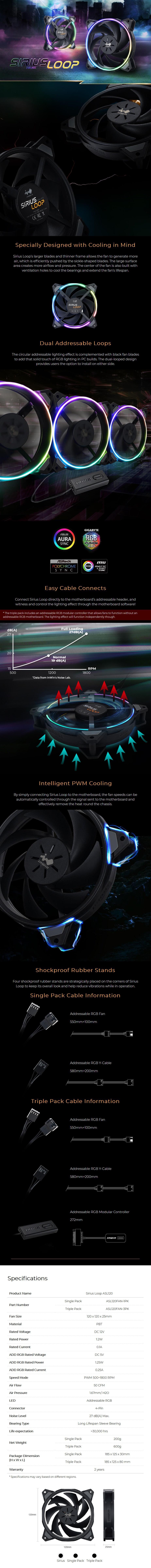 In Win Sirius Loop ASL120 120mm RGB Case Fan - 3 Pack - Overview 1