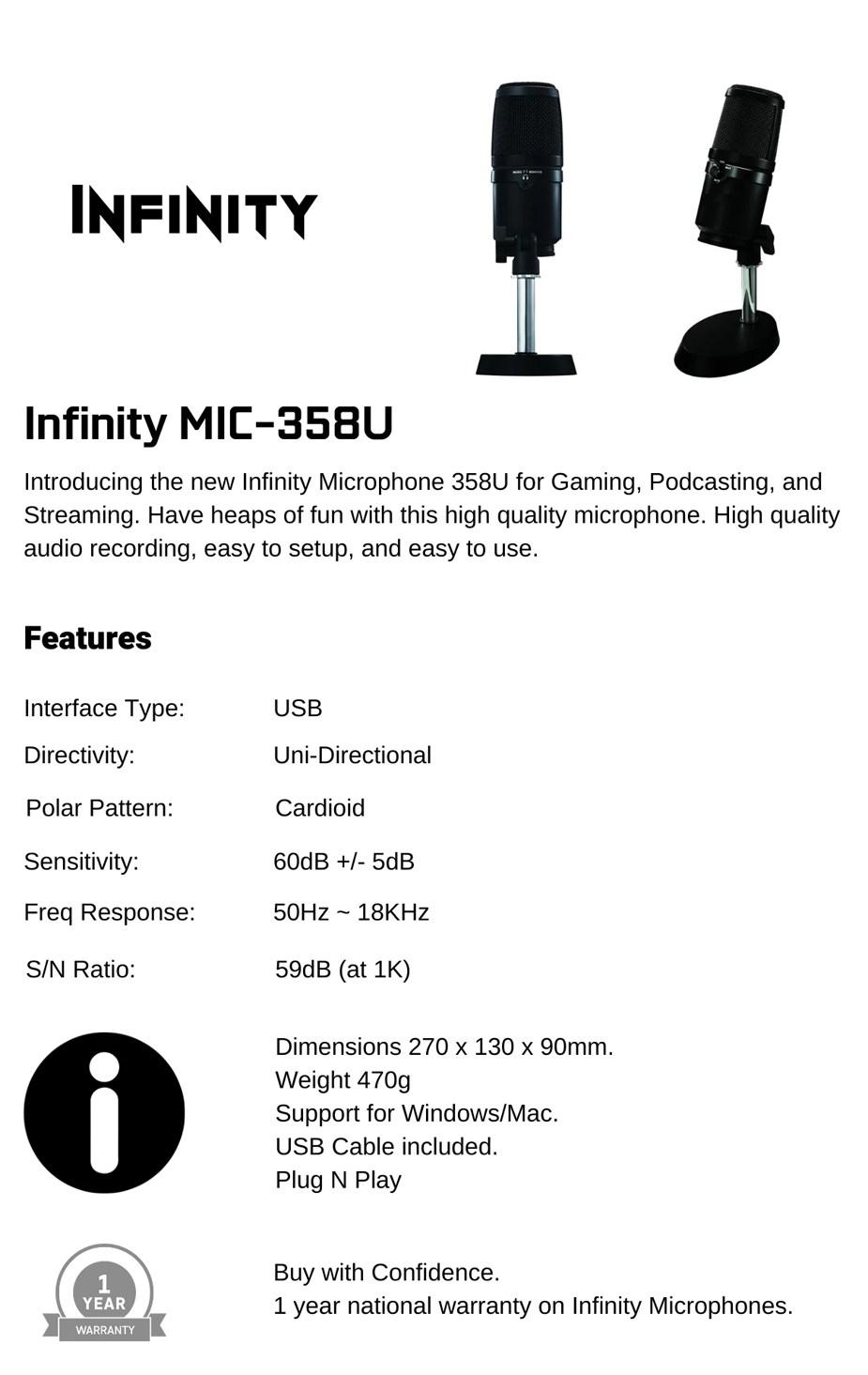 Infinity MIC-358U USB Microphone  - Overview 1