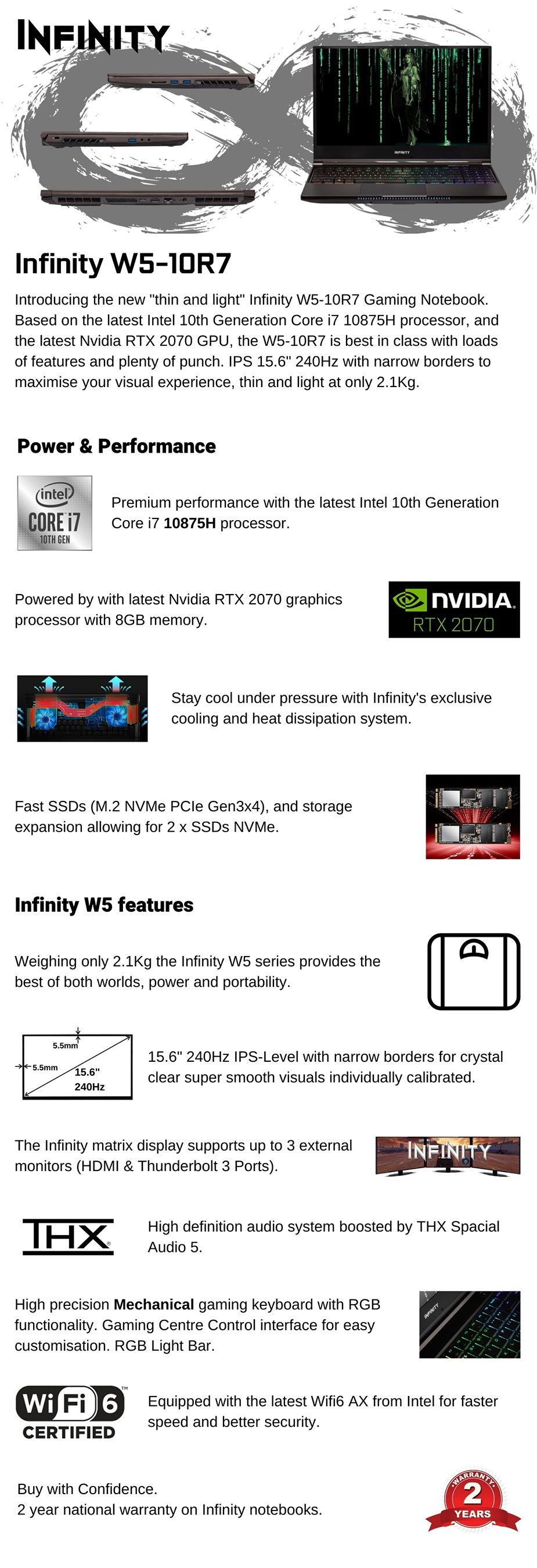 "Infinity W5-10R7-899 15.6"" 240Hz Gaming Laptop i7-10875H 16GB 1TB 2070 W10H - Overview 1"