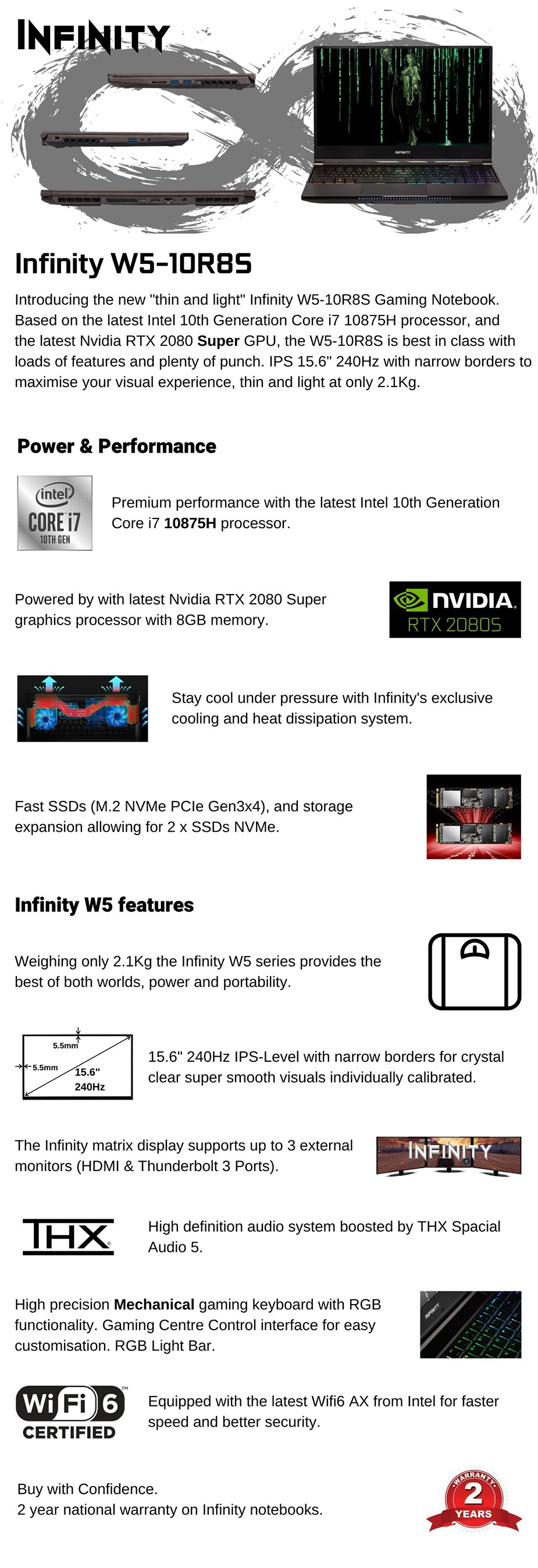"Infinity W5-10R8S-899 15.6"" 240Hz Gaming Laptop i7-10875H 16GB 1TB 2080S W10H - Overview 1"